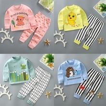 Nightwear Underwear-Set John Long Winter Cartoon Cotton Pajamas Soft-Sleepwear Pink Baby-Girl
