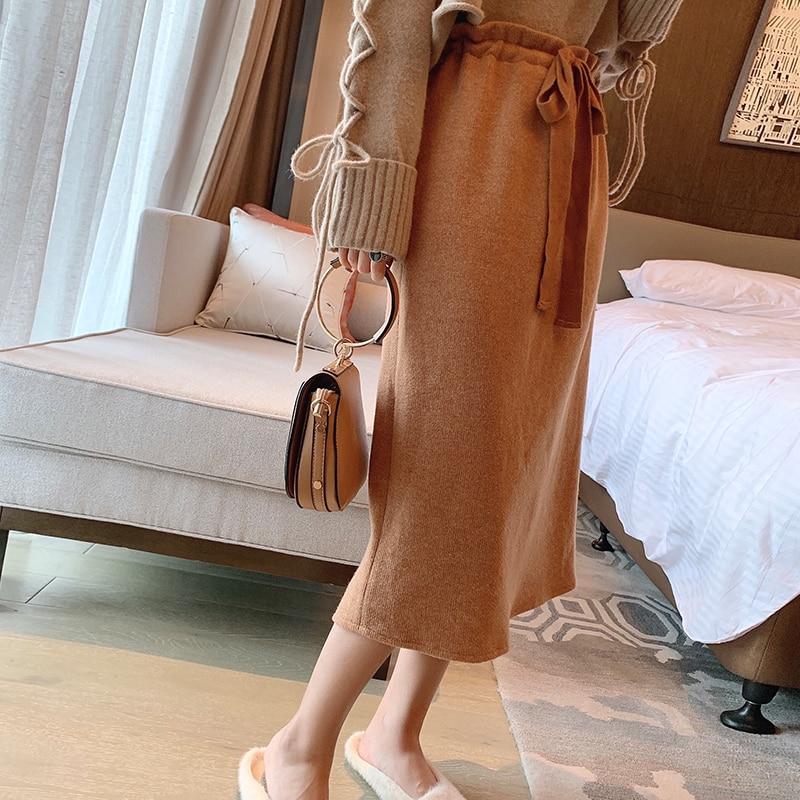 Mishow Autumn Winter Solid Knit Skirt Women High Waist Elastic Waist Knee-length Skirt  MX19D1862