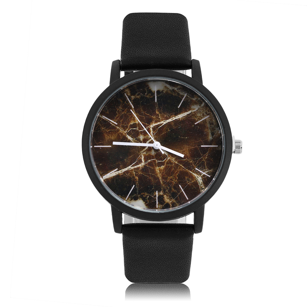 Men Women Unisex Fashionable Design Retro Leather Strap Wrist Watches Vintage Marbling Pattern Quartz Wrist Watch Relogio