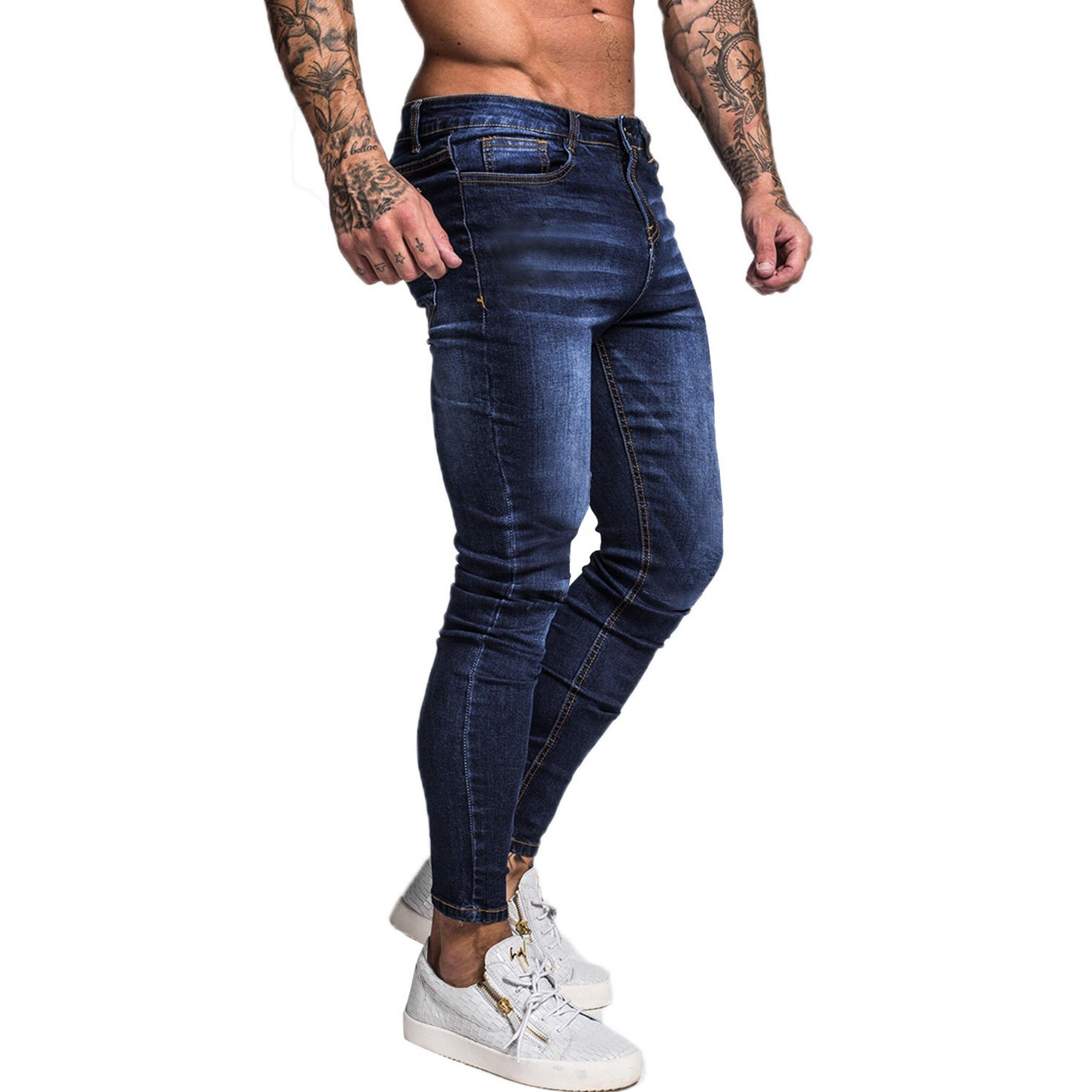GINGTTO Blue Brand Jeans Men Slim Fit Super Skinny Jeans For Men Hip Hop Street Wear Skinny Leg Fashion Stretch Pants Zm121