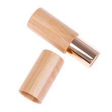 1pc diy bambu vazio lábio bruto recipiente tubo de batom contêiner tubo de bálsamo de bordo tubos de batom de bambu
