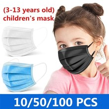 10Pcs/50Pcs/100Pcs Kids Disposable Mask 3 Layer Child Filter Hygiene Thicken Children's Face Mouth Mask Earloop Fast Delievry