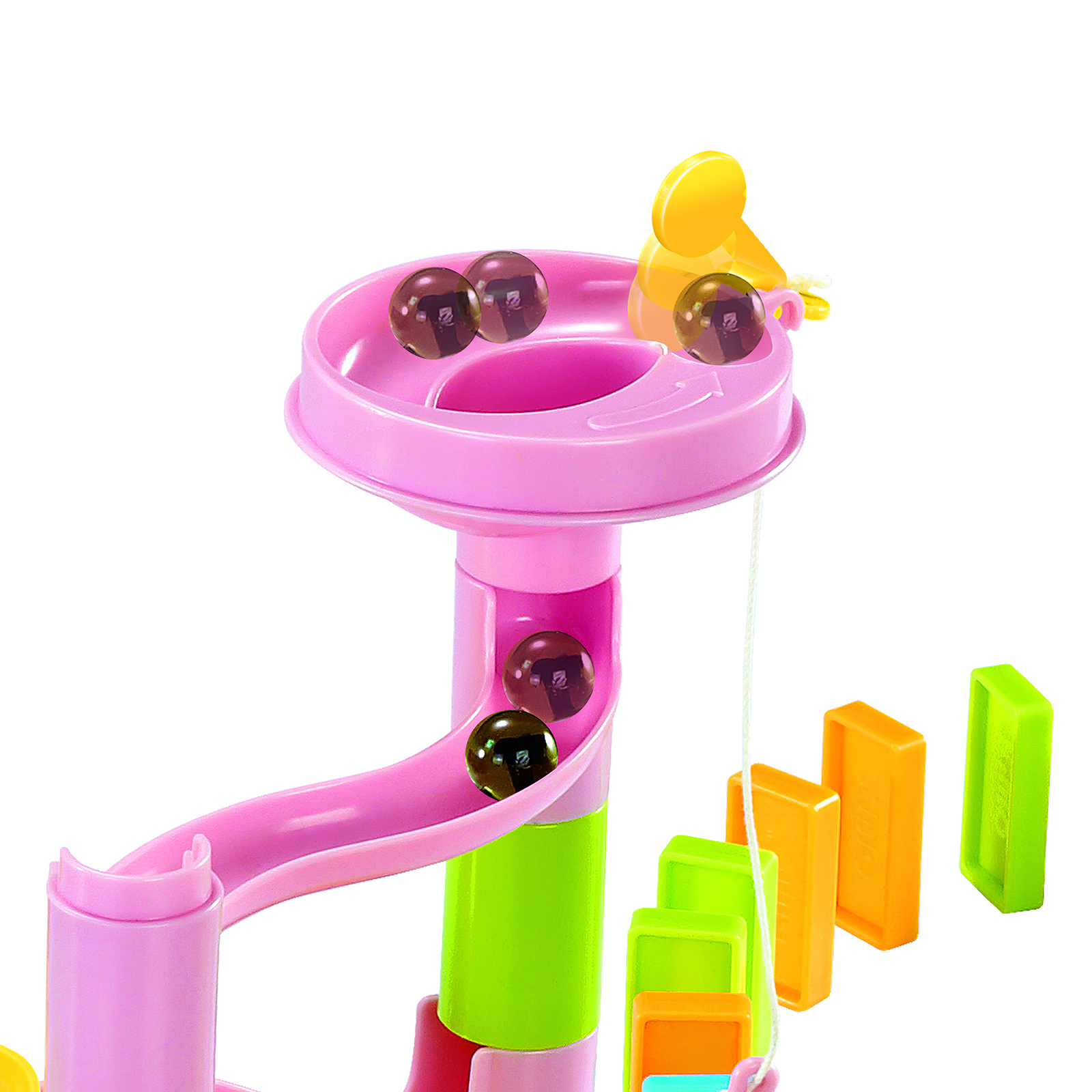 Kids Domino Funnel Slide Building Block Set Colorful Domino Stacking Toy Creative Rolling Maze Building Blocks Educational Toy