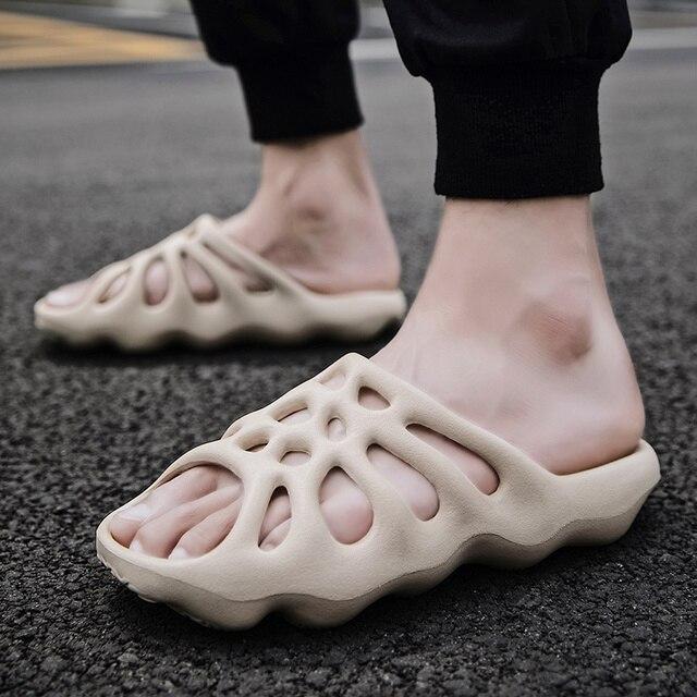 Men Slippers Shoes Non-slip Thick Sole Fashion Male Summer Water Shoes Man Sandals Footwear Mens Beach Shoes Flip Flops Slides