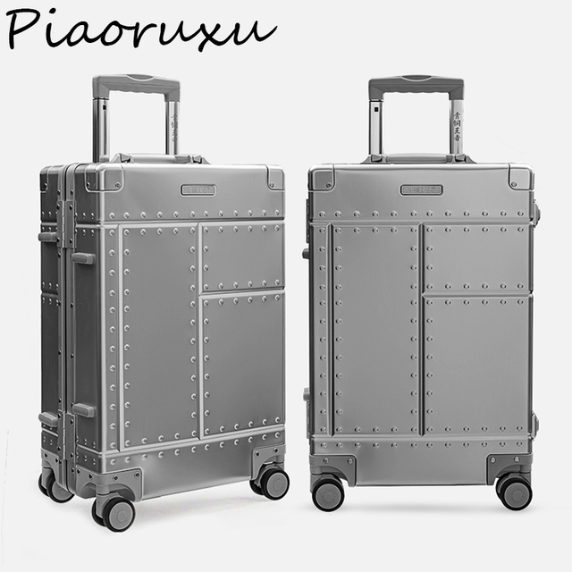 "Piaoruxu 20""26""29"" 100% Aluminium alloy travelling trolly bags suitcase spinner hardcase luggage"