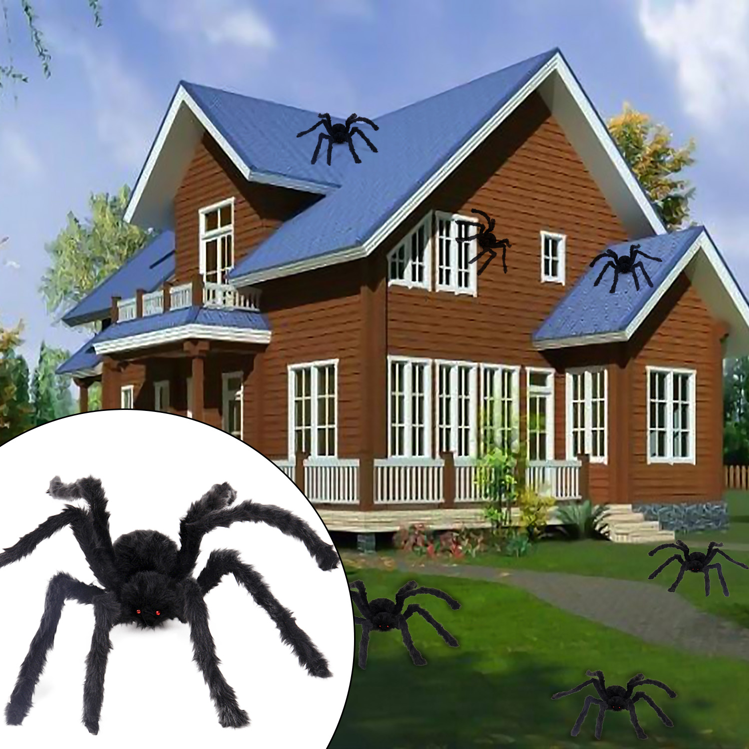 Besegad 125/90/75/50cm Black Big Plush Spiders Horror Scary Creepy Spider Halloween Haunted House Home Bar Party Decorations Toy