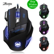 Zelotes T 80 7200 Dpi Backlight Multi Color Led Optische 7 Button Muis Gamer Usb Wired Gaming Mouse Voor Pro Gamer