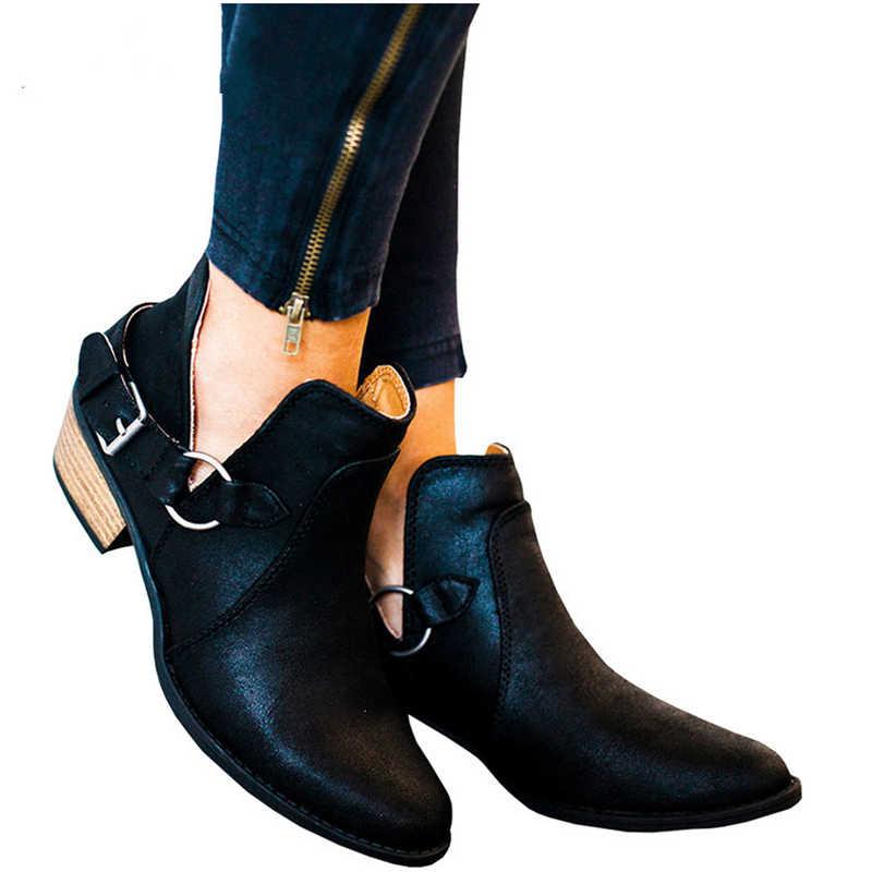 Giày bốt nữ da thật chính hãng Da Cossacks nữ giày nữ Plus Kích Thước mắt cá chân Giày cho giày người phụ nữ da bò nữ kazaki botas mujer