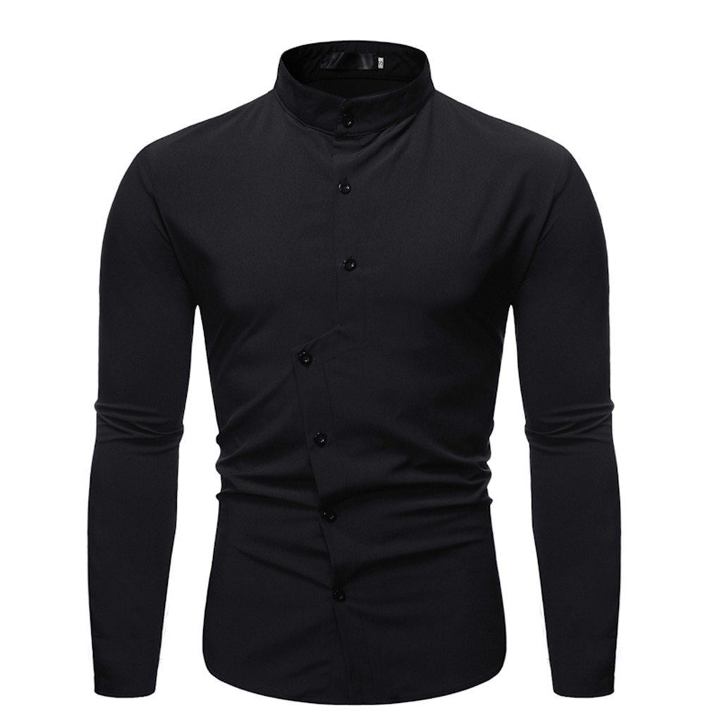 Feitong 2019 Autumn Shirt Men Solid Black Shirts Long Sleeve Stand Collar Comfortable Blouses Social Business Dress Shirt