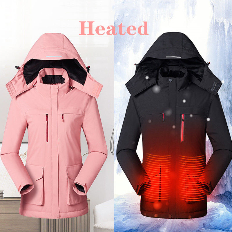 2019 Men Women Outdoor Winter USB Infrared Heating Hooded Jacket Electric Thermal Clothing Coat For Hiking Heated Jacket Vest