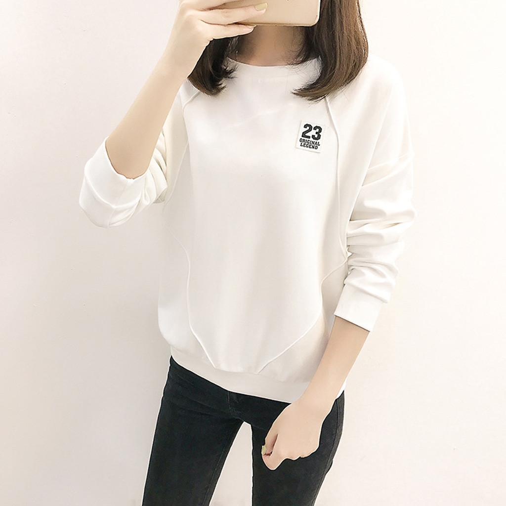 Autumn Sweatshirt Women O Neck  Long Sleeve Personality Streetwear Loose Moletom Feminino Harajuku Bottoming Tops Sudadera Mujer