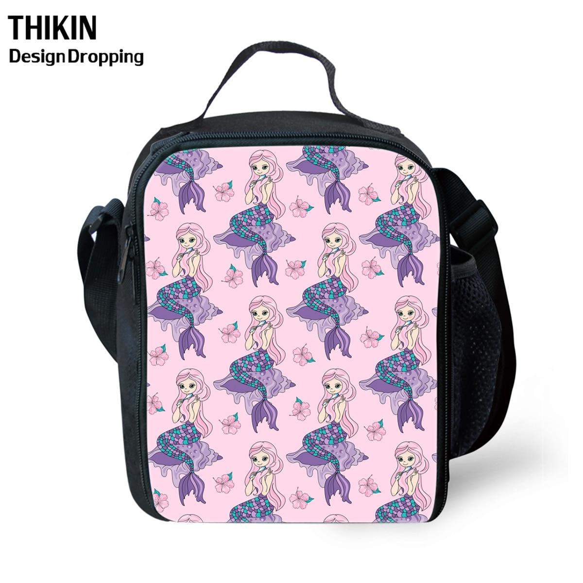 Bolsa de Almoço Crianças dos Desenhos Bolsas de Comida Thikin Meninas Bonito Coral Sereia Princesa Impressão Neoprene Animados Material Escolar Personalizado