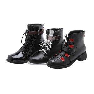 Image 5 - MORAZORA 2020 nowe modne buty motocyklowe pu okrągłe toe zasznurować jesień casual klamerka do butów zip wygodne botki do kostki dla kobiet