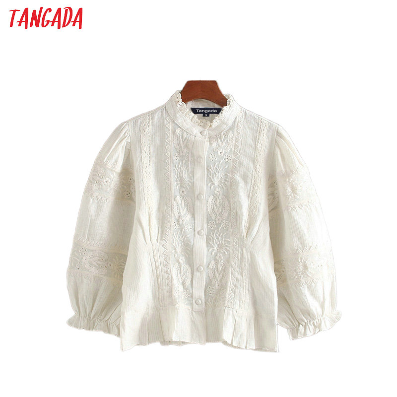 Tangada Women Retro Embroidery White Shirts Pleated Three Quarter Sleeve Ruffles Elegant Office Ladies Crop Blouses CE301