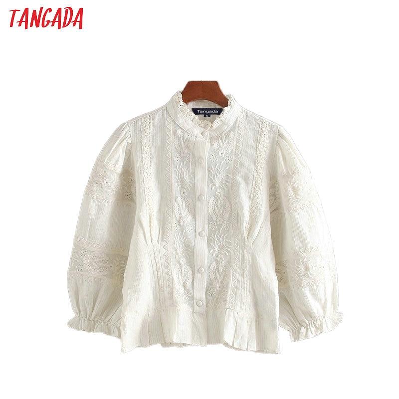 Tangada Women Retro Embroidery White Shirts Pleated Three Quarter Sleeve Ruffles Elegant Office Ladies Crop Blouses CE301