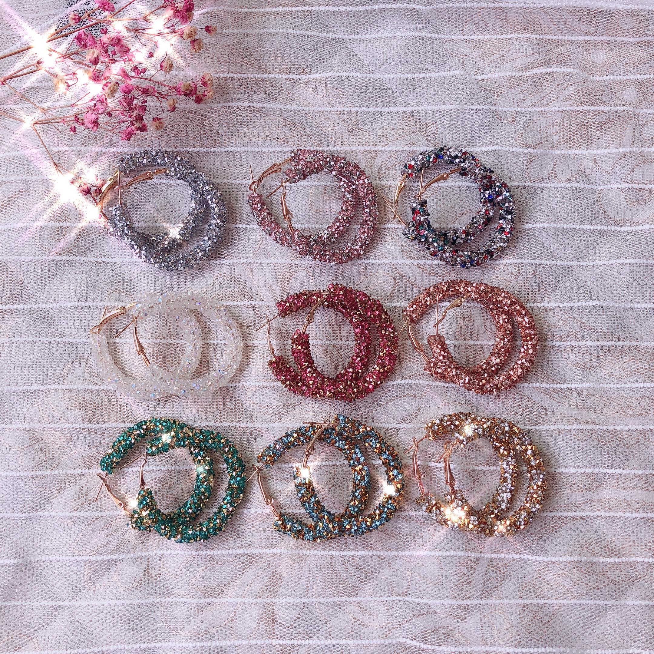 Women Simple New Design Fashion Charm Crystal Hoop Earrings Geometric Round Shiny Rhinestone Big Earring Jewelry