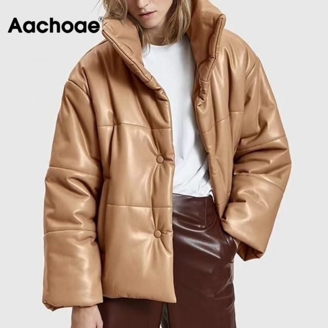 Women PU Leather Parkas Fashion High Street Solid Faxu Leather Coats Elegant Winter Thick Cotton Jackets Loose Outerwear 1