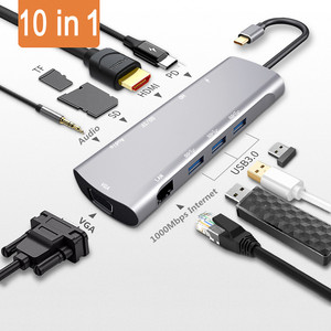 Image 1 - type c to hdmi hub adapter type c to vga RJ45 3.5mm AUX jack with SD TF PD jack usb3.0 hub adapter for MacBook pro Xiaomi