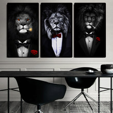 Black Wild Lion in a Suit Canvas Art Posters And Prints Abstract Lion Smoking a Cigar Canvas Paintings On the Wall Art Pictures