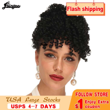 Ebingoo Kinky Curly updos Afro Ponytail Extension Hair piece Bangs Black Heat Resistant Futura Fiber Synthetic Wig
