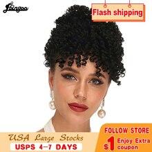 Ebingoo kinky curly updos afro ponytail extensão do cabelo parte franja preto resistente ao calor da fibra futura peruca sintética