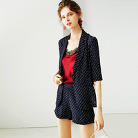 100% Silk Suits Women Two Pieces Set Printed Casual Blazers Top Pockets Shorts High grade Fabric New Fashion 2019