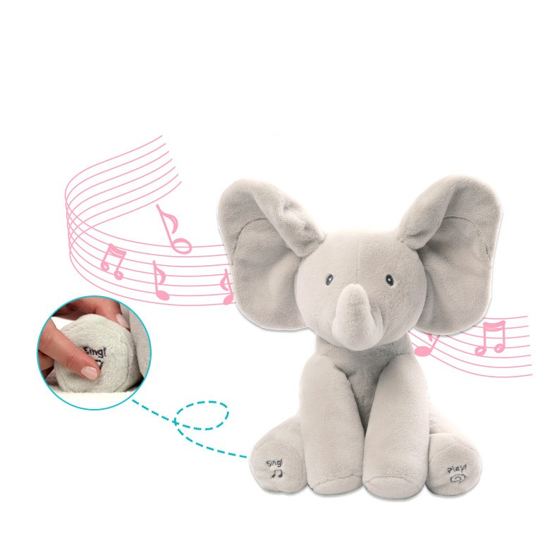 Children's Educational Toys Hide And Seek Elephant Electric Plush Music Soothing Toys