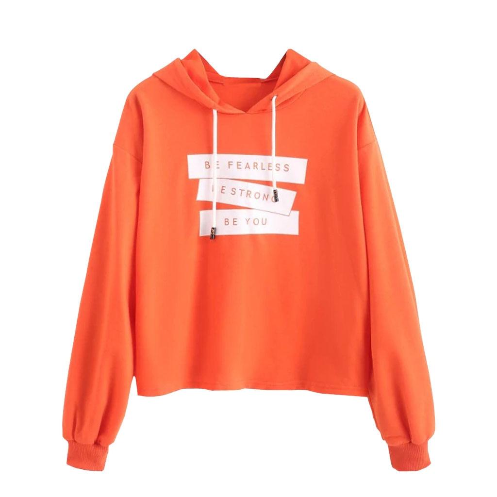 JAYCOSIN Trend Orange Ladies English Letter Printing Sweatshirt Hooded Casual Sweatshirt Loose Fashion Sports Leisure Wild