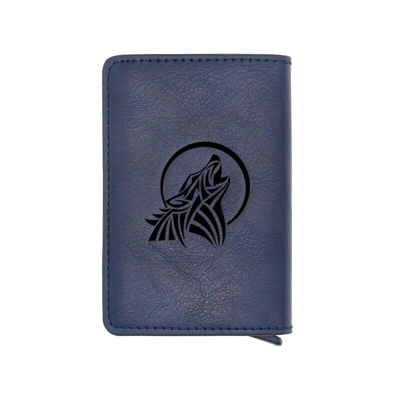 Blue Classic Howling Wolf Design Card Holder Wallets Men Women Rfid Leather Short Purse Slim Mini Wallet Small Money Bag