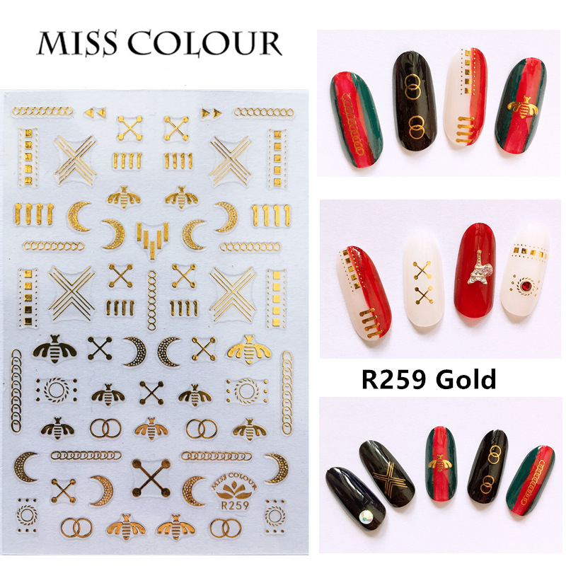 1 Sheet Adhesive Nail Art Sticker Metallic Star Moon Golden Silver Hollow Sequins Studs Letters Manicure DIY Decals Drop Ship in Stickers Decals from Beauty Health