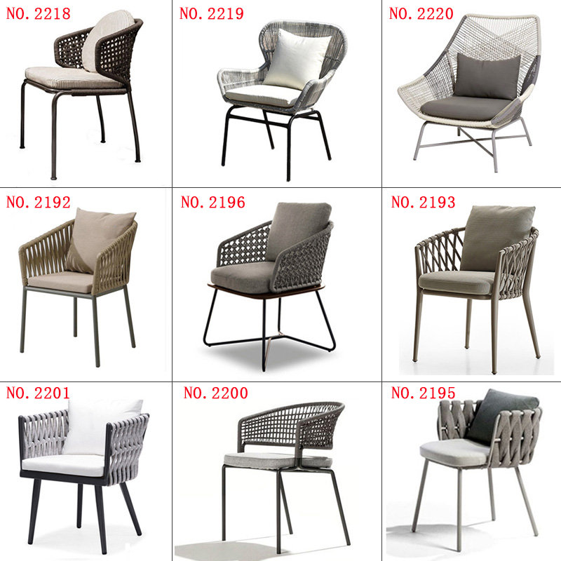 New Design Good Quality Garden Hemp Rope Furniture Patio Aluminum Frame Furniture Set Leisure Chair For Outdoor Transport By Sea