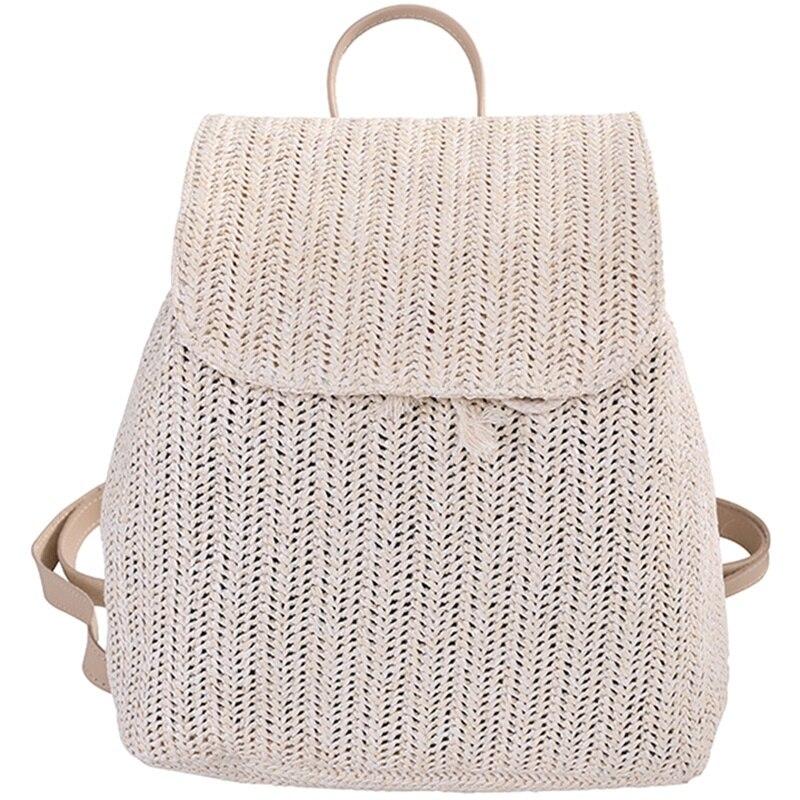 Fashion Straw Woven Backpack Ladies Shoulder Bag Summer Girl Backpack Female Travel Bag Books Backpack