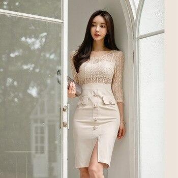 ¡Novedad de 2020! Vestido de pasarela de diseñador de marca, Túnica lisa de mujer, vestido de oficina entallado con retazos de encaje de tres cuartos para mujer