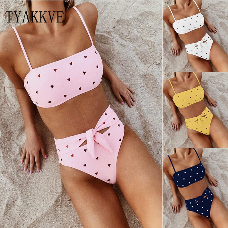 TYAKKVE 2 Piece Bandage Swimsuit Bikini Push Up Swimwear Women High Waisted Girls Bathing Suit Tankini Swimsuits Women Biquini