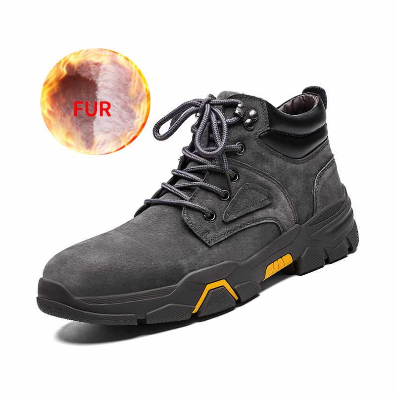 2019 nuevas botas de invierno para hombres botas de la nieve cómodas con piel caliente transpirable con cordones de cuero alto tobillo calzado tallas grandes 39-48