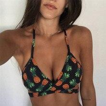 3 Colors Sexy Printed Pineapple Women Bikini Set Bandage Push Up Padded Bra and Thongs Swimsuit Bathing Suit Swimwear