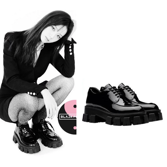 Kpop Blackpink Lisa 2020 Black Women Dance Leather Shoes British