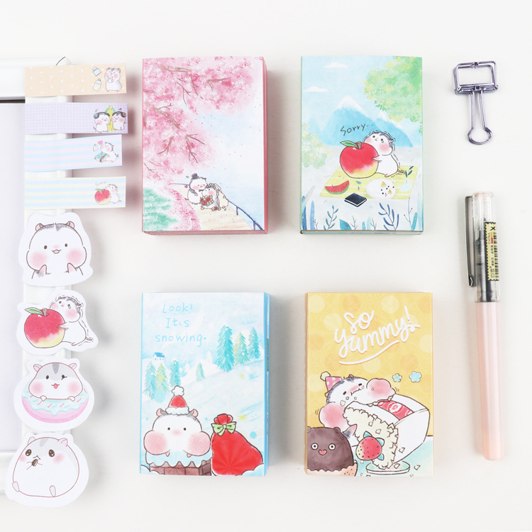 Cartoon Kawaii Hamster Cherry Snow Mountain  6 Folding Memo Pad N Times Sticky Notes Memo Notepad Bookmark Gift Stationery