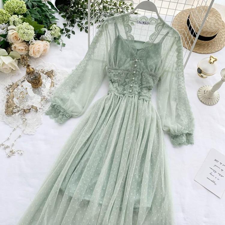 Lace Floral V-Neck Long Sleeve Polka Dot Dress 23