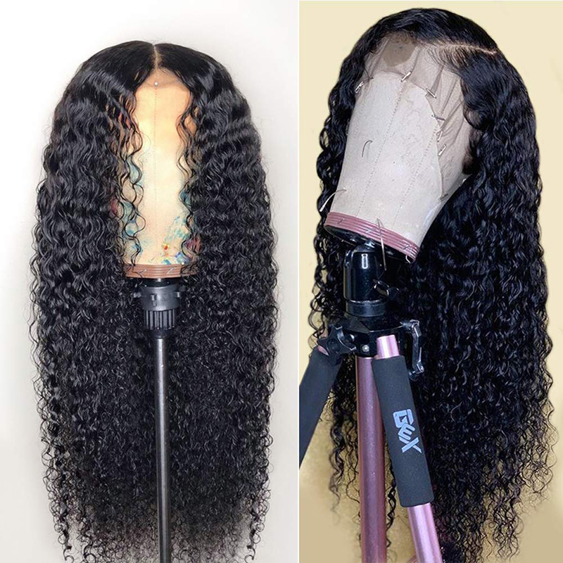 QUINLUX WIGS Synthetic Black Curly Lace Front Wigs For Women Long Deep Curly Hair Afro Spiral Curls Daily Wear Wig HandTied Wigs