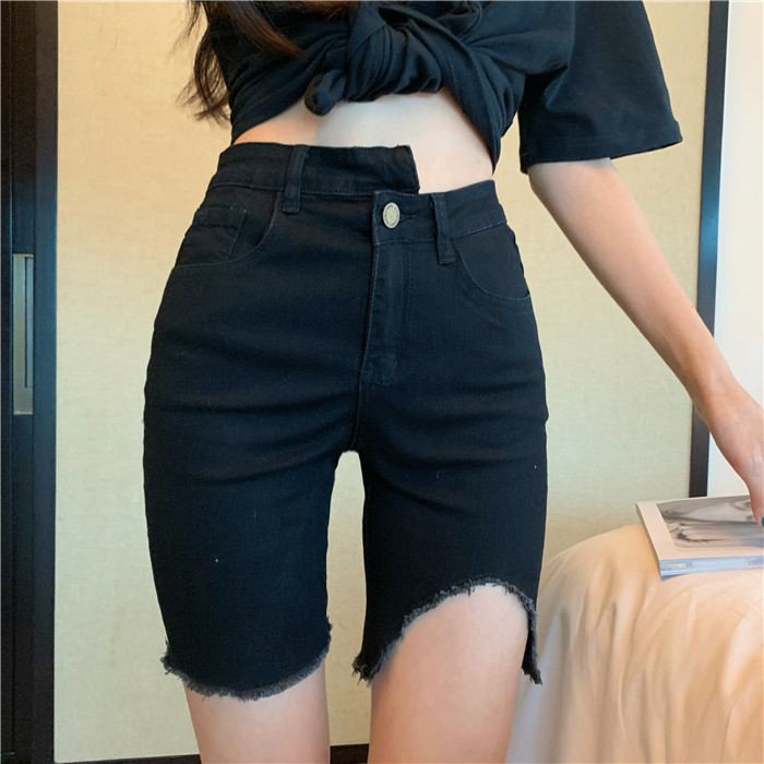 Summer Shorts With Belt 2020 Loose High Waist Slim Loose Green Shorts Women  Red