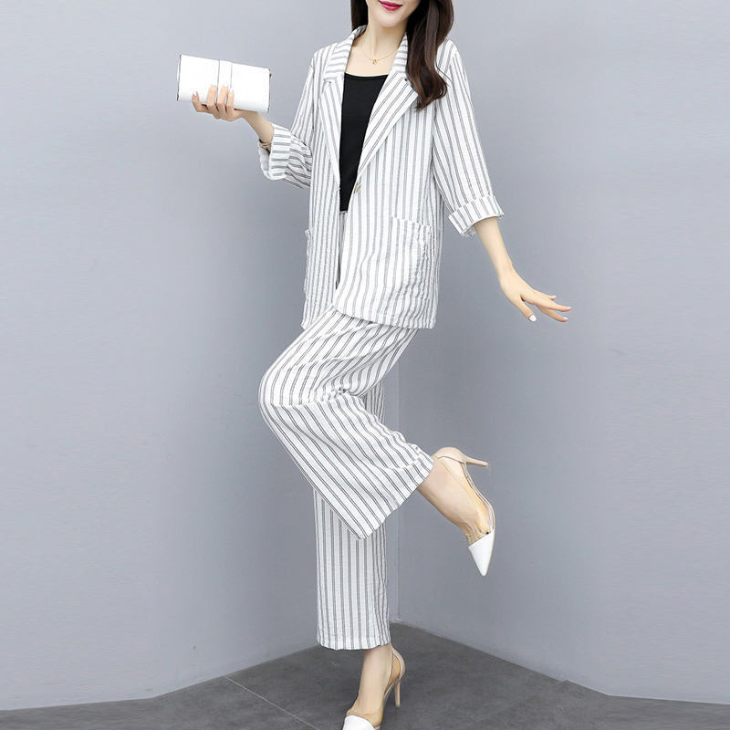 Fashion Women Pant Suits Striped Casual Blazer Jackets Wide Leg Trouser Two Pieces Sets Female Outfits 2020 Fashion