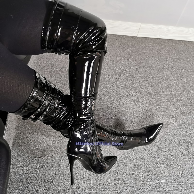 Black Patent Leather Thin High Heeled Over The Knee Boots Woman Buckle Straps Pointed Toe Winter Shoes Thigh High Slouch Bota
