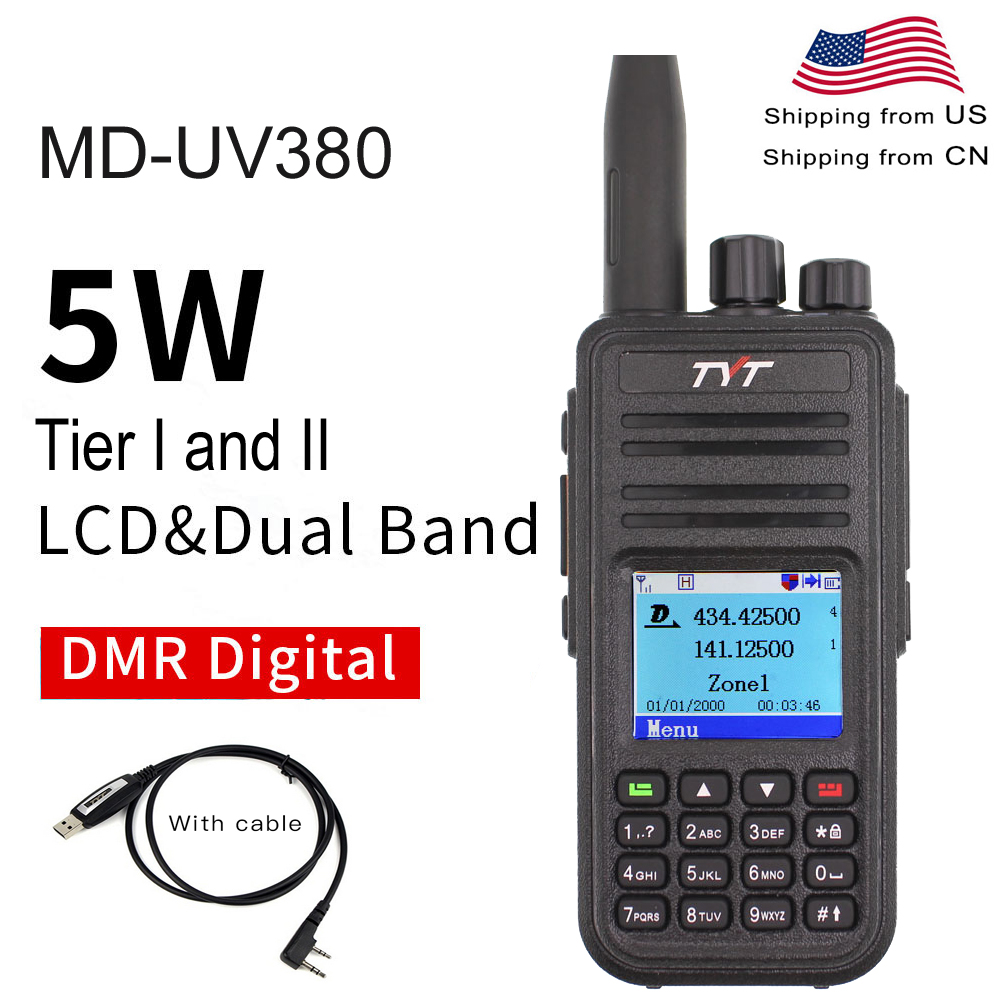 TYT MD-UV380 Dual Band 136-174Mhz & 400-480MHz Walkie Talkie DMR Digital Two Way Radio MD-380 Dual Time Slot Transceiver + USB