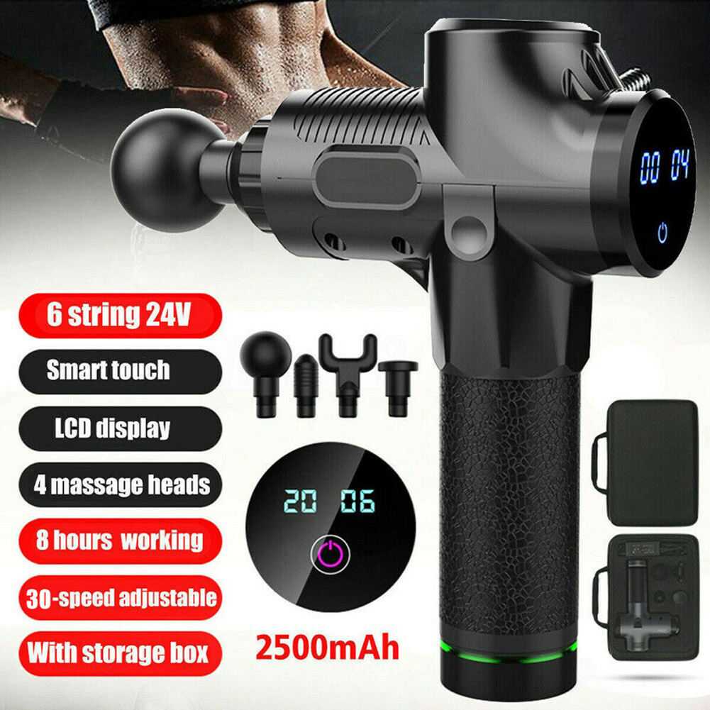 Percussion Massage Guns Tool 4 Heads 30 Speeds Vibration Muscle Body Therapy Massager TB Sale