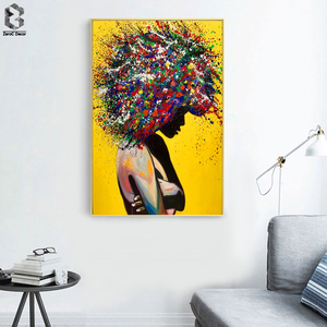 Modern Girl Portrait Canvas Printings Oil Painting Wall Art Poster Pictures for Office Living Room Home Decoration(China)