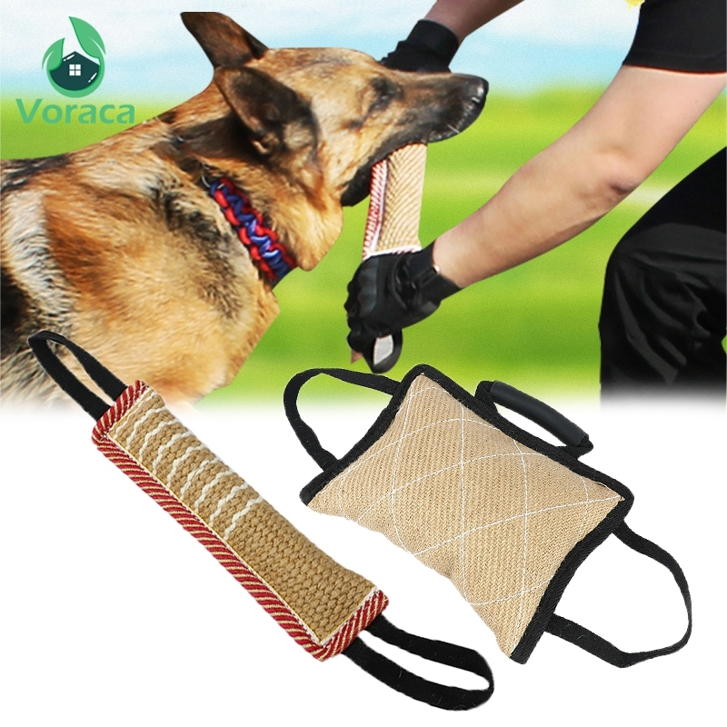 Durable Dog Training Bite Tug Pillow Sleeve with 2 Rope Handles for Training Malinois German Shepherd