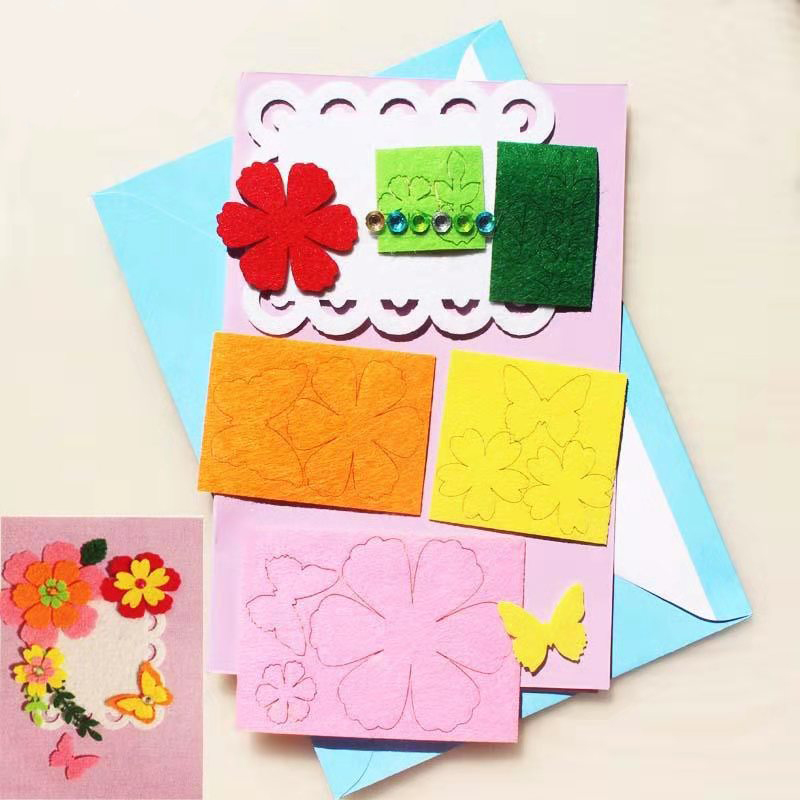 Creative Handmade Greeting CARDS Non-woven Material Package Thanksgiving Christmas Valentine's Day Greeting CARDS DIY Materials