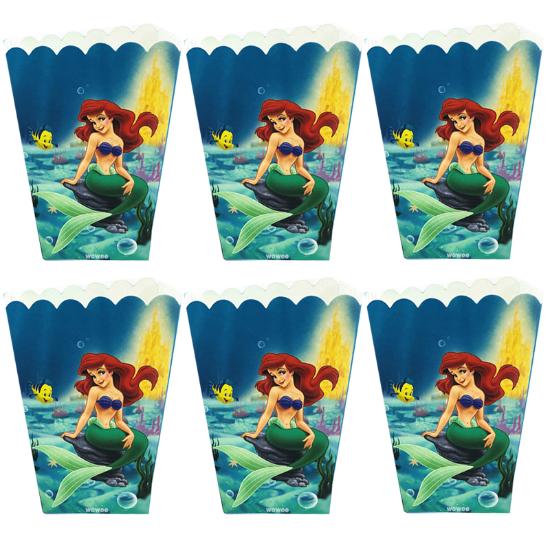 6pcs/set Mermaid Party Supplies Popcorn Box Kids Disposable Candy Tableware Birthday Set Baby Shower Decoration
