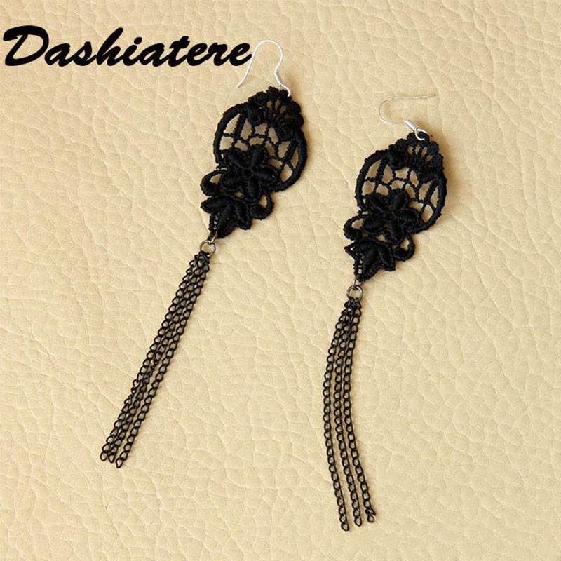 Simple Black Lace Tassel Earrings for Women Long Dangle Gothic Jewelry Hanging Dangler Evening Dress Retro Ear Accessories Girls